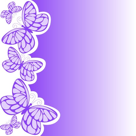 butterfly background: Several purple butterflies on asymmetric white-violet background