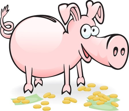pig-piggy bank on the scattered banknotes and coins Vector