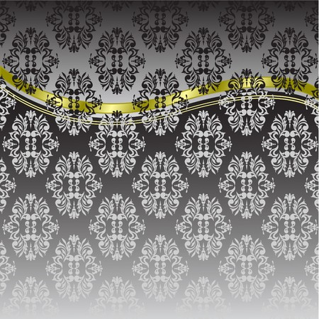 black ornaments and gold ribbon with a gray gradient background Vector