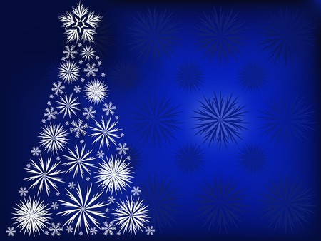 Christmas tree with white snowflakes on the background of  blue snowflakes Vector