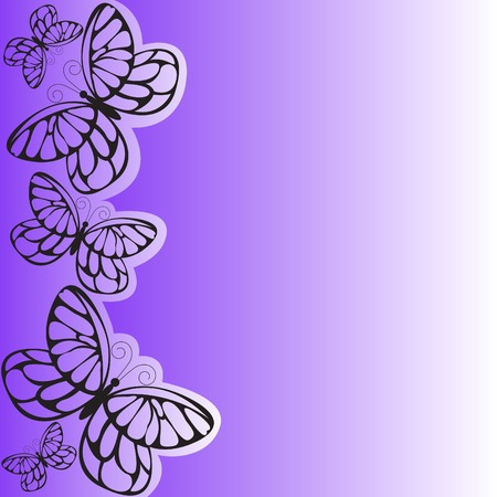 several black butterflies on asymmetrical purple background Vector