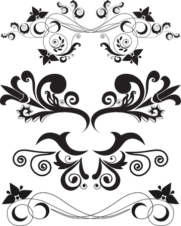 accent abstract: Vector illustration set of swirling flourishes decorative floral elements