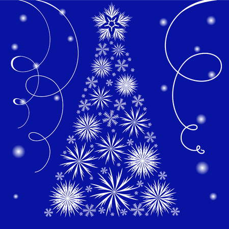 Christmas arrangement with white snowflakes and streamers on  blue background Stock Vector - 7932769