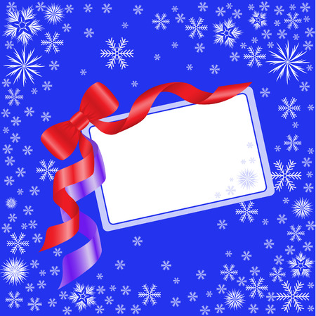 Blue Christmas card with a red bow and white snowflakes Stock Vector - 7932772
