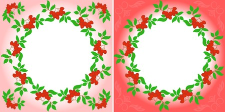 set of two mountain ash wreaths on different backgrounds Vector