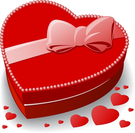 red gift box: red heart-shaped box decorated with a bow