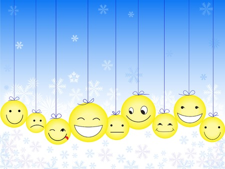 hanging toy: yellow smileys on New Years background with snowflakes