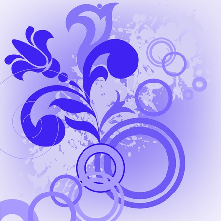 abstract blue background with a flower and circles Vector