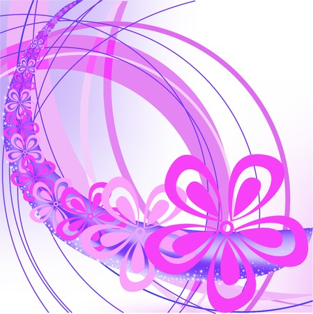 pink flower on a whirlwind abstract violet background Illustration
