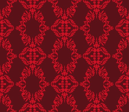 vinous: Seamless floral pattern of red on  vinous background