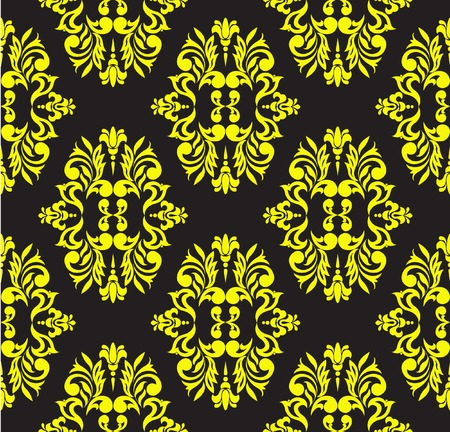 Seamless floral pattern of yellow on a black background Stock Vector - 8297220