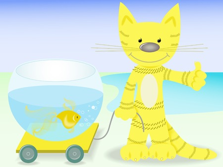 red cat lucky to cart aquarium with goldfish Vector