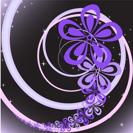 abstract black background with purple floral swirl Stock Vector - 8297223