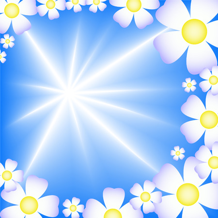 abstract blue starry background with daisies around the edges Vector