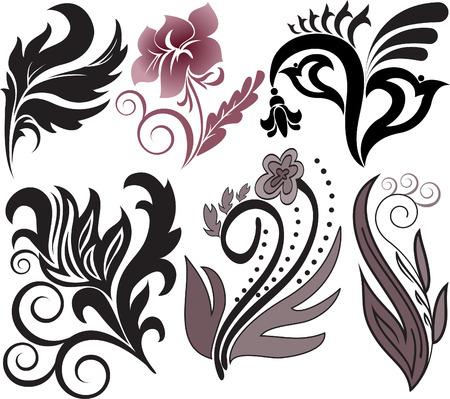 accents: Conjunto de ilustraci�n vectorial de elementos decorativos de florales