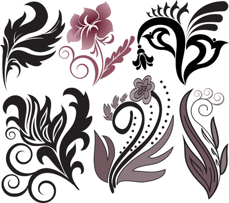 Vector illustration set of decorative floral elements Stock Vector - 8403629