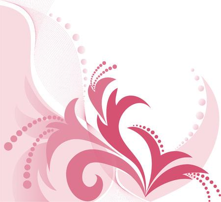 asymmetrical: asymmetrical pink floral pattern on a white background Illustration