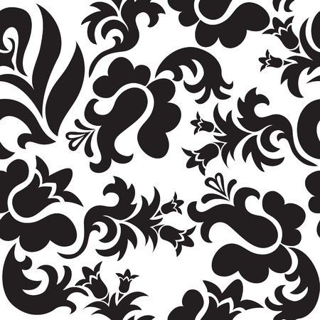 seamless white background with randomly placed black plants Vector