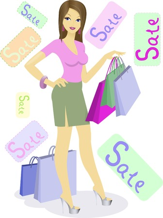 beautiful girl with shopping bags on sale Vector