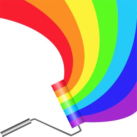 farbrolle: Multicolored Paint Roller Malerei halbrunden rainbow Illustration
