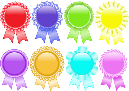 award ribbon rosette: set of colorful medals  on a white background