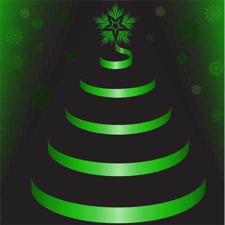 .Green Tree of shiny ribbon on a black background Stock Vector - 8403645