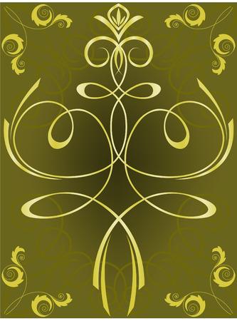 jeweller: shimmering gold ornament on a dark background Illustration