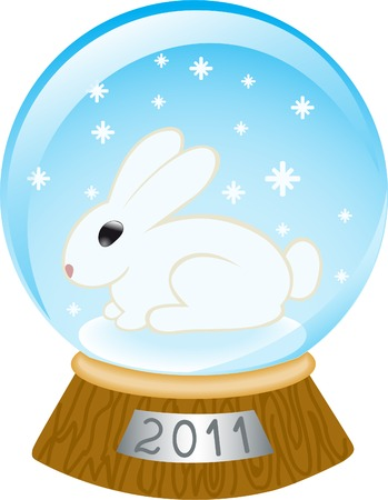 glass bowl with a rabbit and falling snowflakes Vector