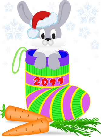 rabbit in a Christmas cap looks out of a stocking gift Vector