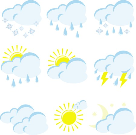 meteorologist: set of weather icons on a white background Illustration