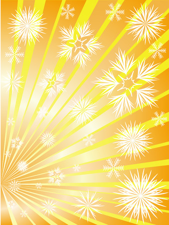 fireworks on white background: Fireworks from snowflakes to divergent golden rays