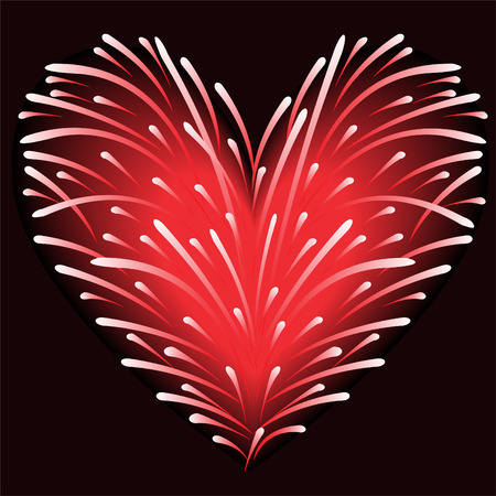 fireworks of red sparks in the shape of a heart on a black background Vector