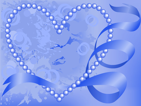 entwined: heart of pearl blue ribbon entwined in the stained background Illustration