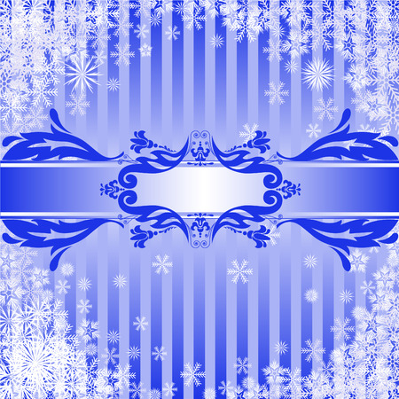 Blue Christmas background with a band of ornamental Stock Vector - 8473564