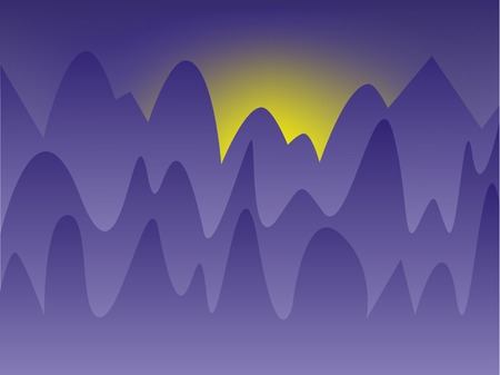 stylized image of a sunset in a dark-blue mountains Vector