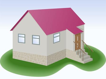 addition: maison grise avec toit rouge et ajout