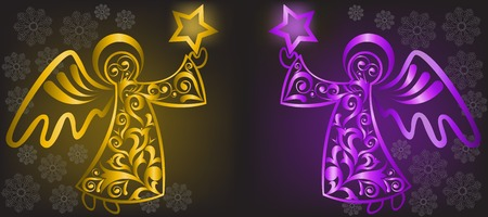 two shimmering Christmas angel with stars on a black background Vector