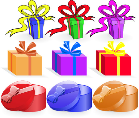 set of nine colored boxes of various shapes Stock Vector - 8473557