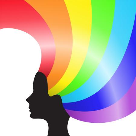 yellow hair: .Black silhouette di una testa femmina con i capelli di arcobaleno