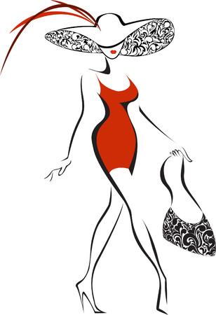 모자: 모자와 빨간 드레스에 슬림 실행하는 여자의 실루엣