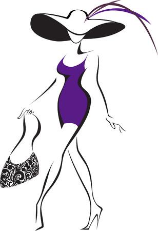 silueta delgada que ejecutan mujer con un sombrero y una bolsa de