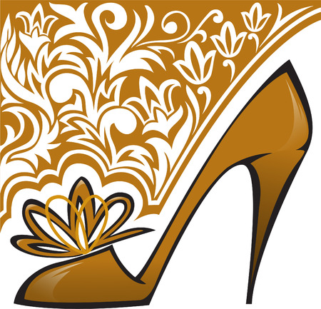 golden shoes with high heels on  background with ornament