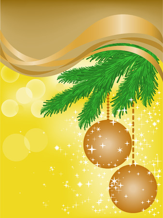 christmassy: Christmassy yellow background with brown ribbons and two balls Illustration