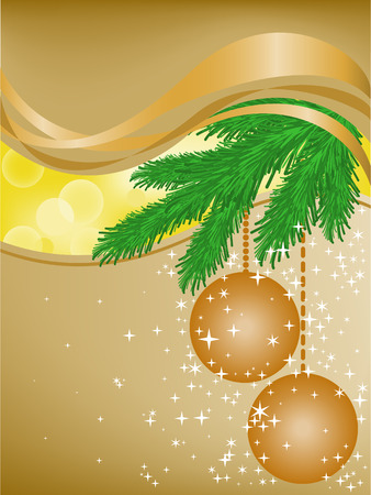 abstract background with spruce branches in the yellow glares Vector