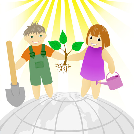 seedling growing: boy with a girl standing on a round earth Illustration