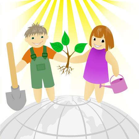 siembra: ni�o con una chica de pie en una tierra redonda Vectores