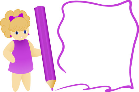 cartoon girl with a pencil and painted frame Stock Vector - 8809788