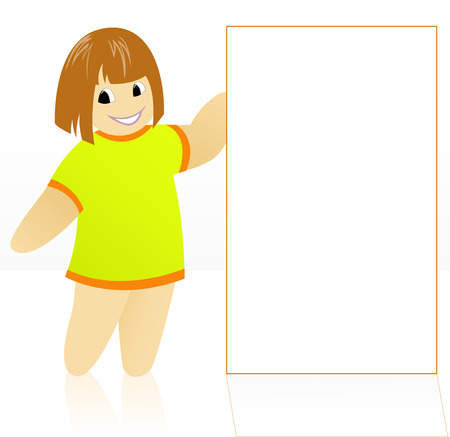 banner of peace: cartoon girl in a yellow dress holding a large white poster Illustration