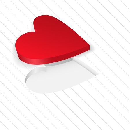 red heart lies on a white background diagonal stripes