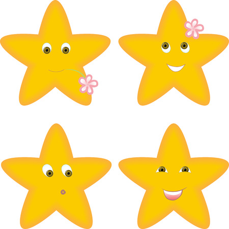modesty: set of four yellow stars with different facial expressions